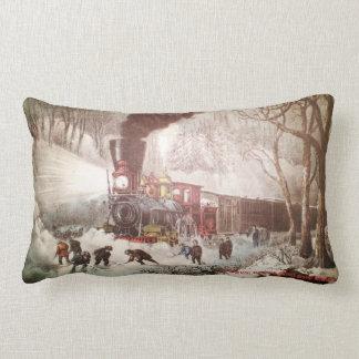 Snow Bound Train Lumbar Pillow