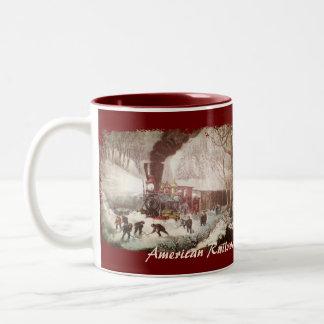Snow Bound Train Vintage Coffee Mugs