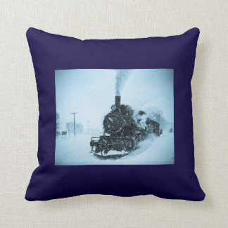 Snow Bound Train Vintage Winter Railroad Pillows