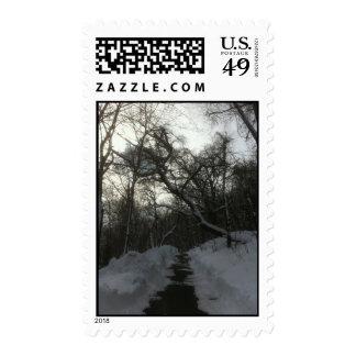 Snow Brick Road Postage Stamps