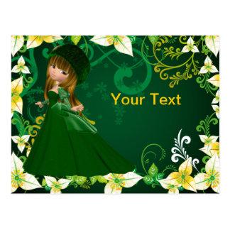 Snow Bride in Green Dress Postcard