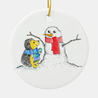 Snow Buddies Double-Sided Ceramic Round Christmas Ornament