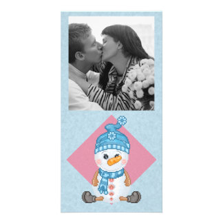 Snow Buddy Pixel Art Photo Greeting Card