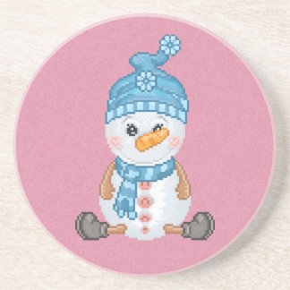 Snow Buddy Pixel Art Sandstone Coaster