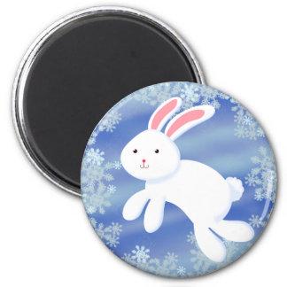 Snow Bunny 2 Inch Round Magnet