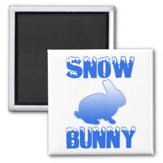 Snow Bunny 2 Inch Square Magnet