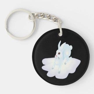 Snow Bunny 2 Single-Sided Round Acrylic Keychain