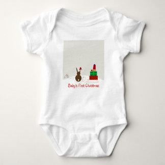 Snow Bunny Baby's First Christmas Shirt