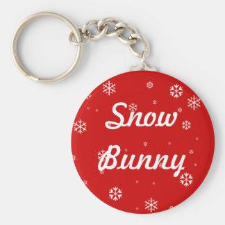 Snow Bunny Basic Round Button Keychain