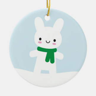 Snow Bunny & Bear - Double Sided Ceramic Ornament