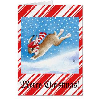 Snow bunny Christmas greeting card