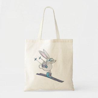 Snow bunny cute skier reusable grocery bag