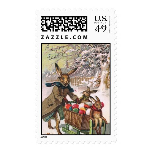 Snow Bunny Easter Delivery of Eggs Postage Stamp