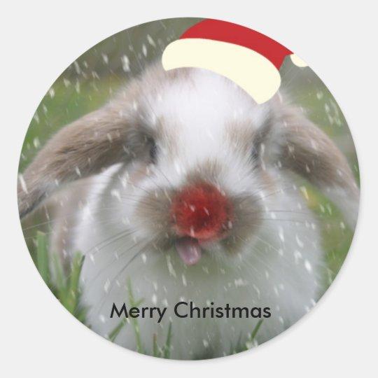 snow bunny, Merry Christmas Classic Round Sticker