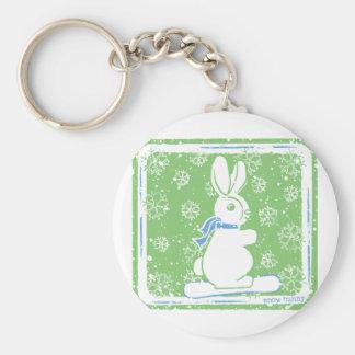 Snow Bunny Snow Boarding Basic Round Button Keychain