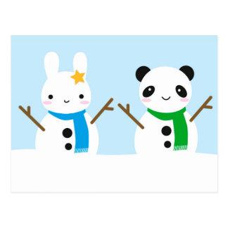 Snow Bunny & Snow Panda Postcard
