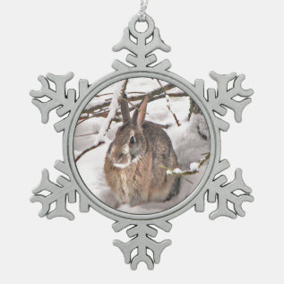Snow Bunny Snowflake Pewter Christmas Ornament at Zazzle