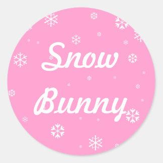 Snow Bunny Snowflakes Round Sticker