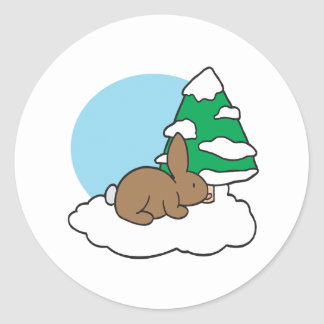 Snow Bunny Round Sticker