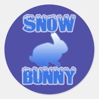 Snow Bunny Round Stickers