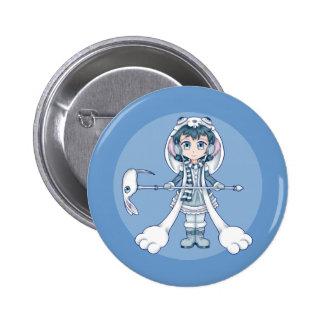 Snow Bunny Winter Anime Girl Pinback Button