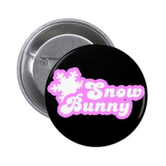 Snow Bunny Winter Pink 2 Inch Round Button