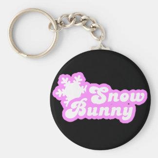 Snow Bunny Winter Pink Basic Round Button Keychain