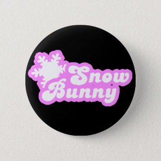 Snow Bunny Winter Pink Button