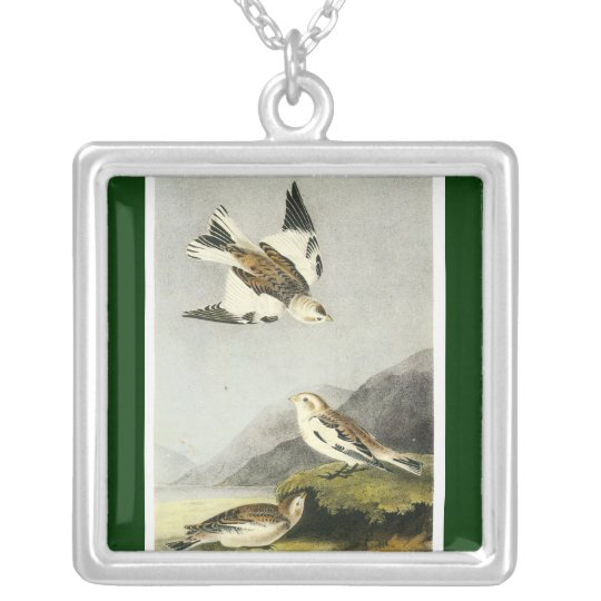 Snow Bunting - John James Audubon Silver Plated Necklace
