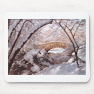 Snow by the Bridge Mouse Pad