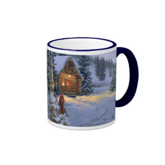 snow_cabin_Christmas_mug Ringer Coffee Mug