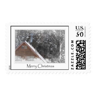 Snow Cabin in the Forest Merry Christmas Postage