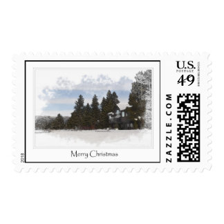 Snow Cabin in the Forest Merry Christmas Stamps