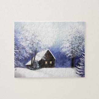 snow cabin winter landscape in pastel puzzle
