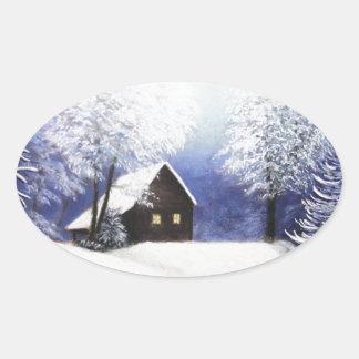 snow cabin winter landscape in pastel stickers