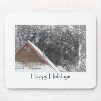 Snow Cabin Woods Happy Holidays Merry Christmas Mouse Pad