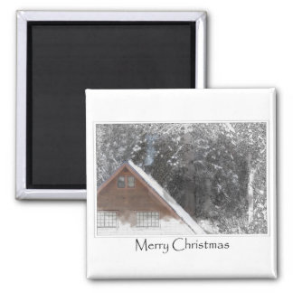 Snow Cabin Woods Merry Christmas 2 Inch Square Magnet