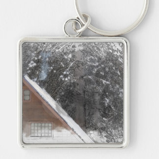 Snow Cabin Woods Merry Christmas Happy Holidays Keychain