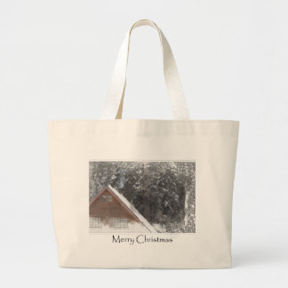 Snow Cabin Woods Merry Christmas Large Tote Bag