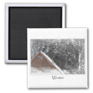 Snow Cabin Woods Winter 2 Inch Square Magnet