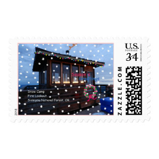 Snow Camp Fire Lookout Holiday Wreath Photo Postage Stamps