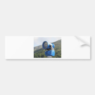 Snow cannon with mountains background bumper sticker
