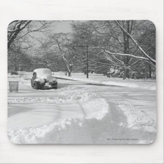 Snow capped car on street B&W Mouse Pad