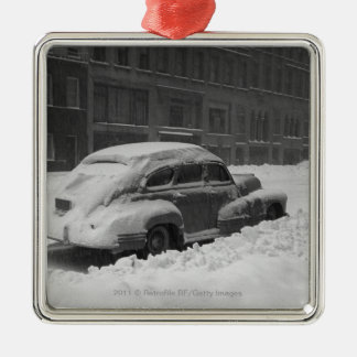 Snow capped car on street B W Ornaments