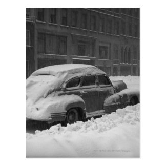 Snow capped car on street B&W Post Card