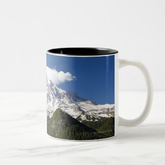 Snow Capped Mountain with Blue Sky & Forest Two-Tone Coffee Mug