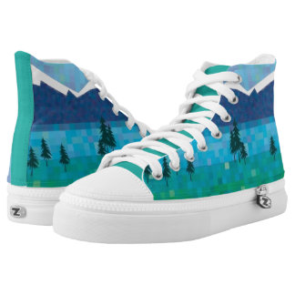 Snow capped mountains, mountain lake High-Top sneakers