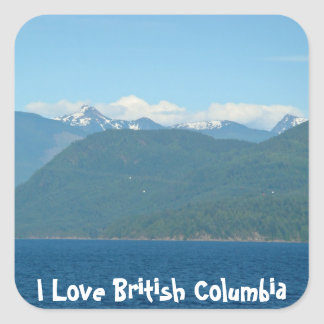 Snow Capped Mountains & Sea Square Sticker