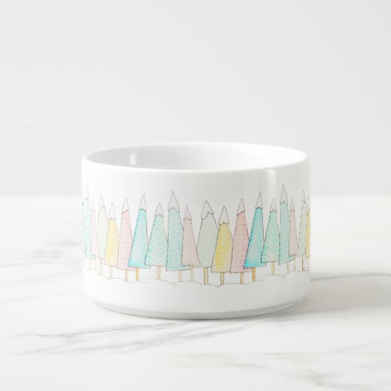 Snow Capped Trees Modern Watercolor Winter Holiday Bowl