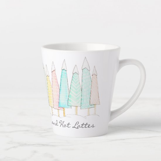 Snow Capped Trees Modern Watercolor Winter Holiday Latte Mug